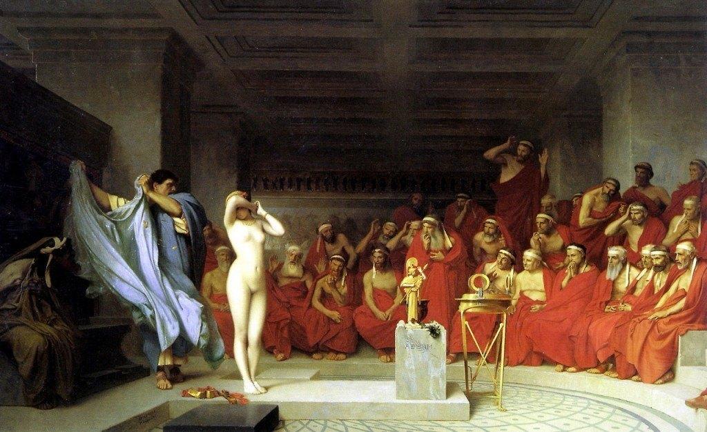 La belleza desnuda de Friné consiguió que el tribunal popular griego la absolviera del delito de impiedad.
