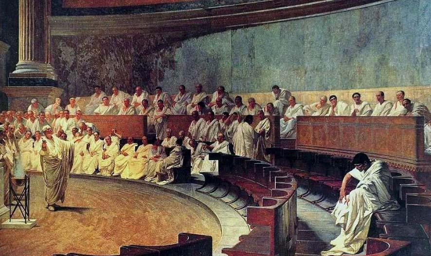 La primera catilinaria, Maccari, 1880. Se ve a Marco Tulio Cicerón dirigiéndose al Senado.