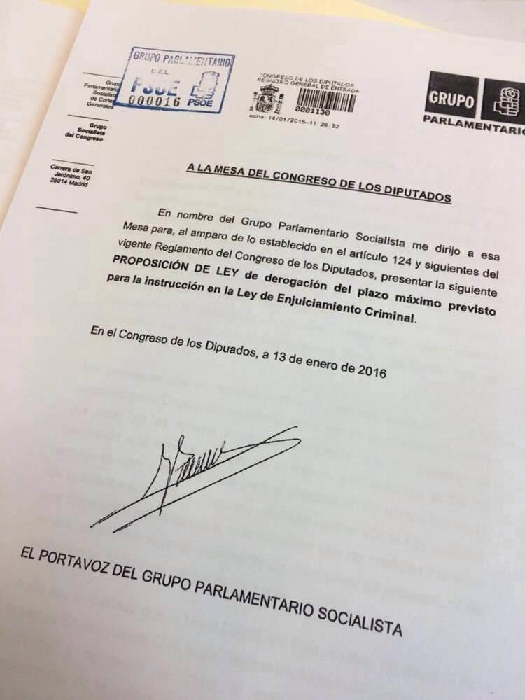 El PSOE presenta una proposición de ley para derogar el plazo máximo de la instrucción penal