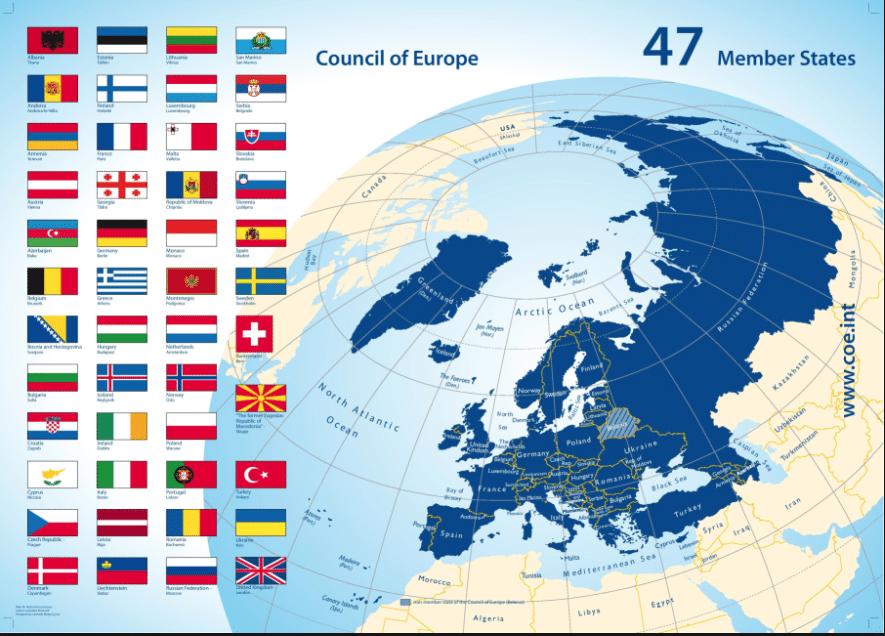 El Consejo de Europa lo conforman 47 países, 28 de ellos son miembros de la Unión Europea.