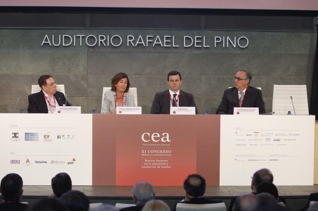 De izda. a dcha., Julio González Soria, Carmen Sánchez-Cortés, David Arias y José Antonio Cainzos. CEA.