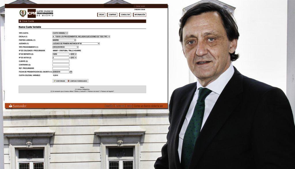 Gabriel de Diego Quevedo, decano del Colegio de Procuradores de Madrid, con un pantallazo de la nueva aplicación que ha desarrollado el Banco de Santander. Confilegal.