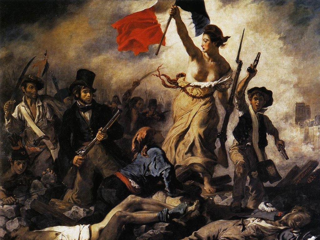 La Libertad -con el gorro frigio en la cabeza- guiando al pueblo, cuadro del pintor Eugène Delacroix.