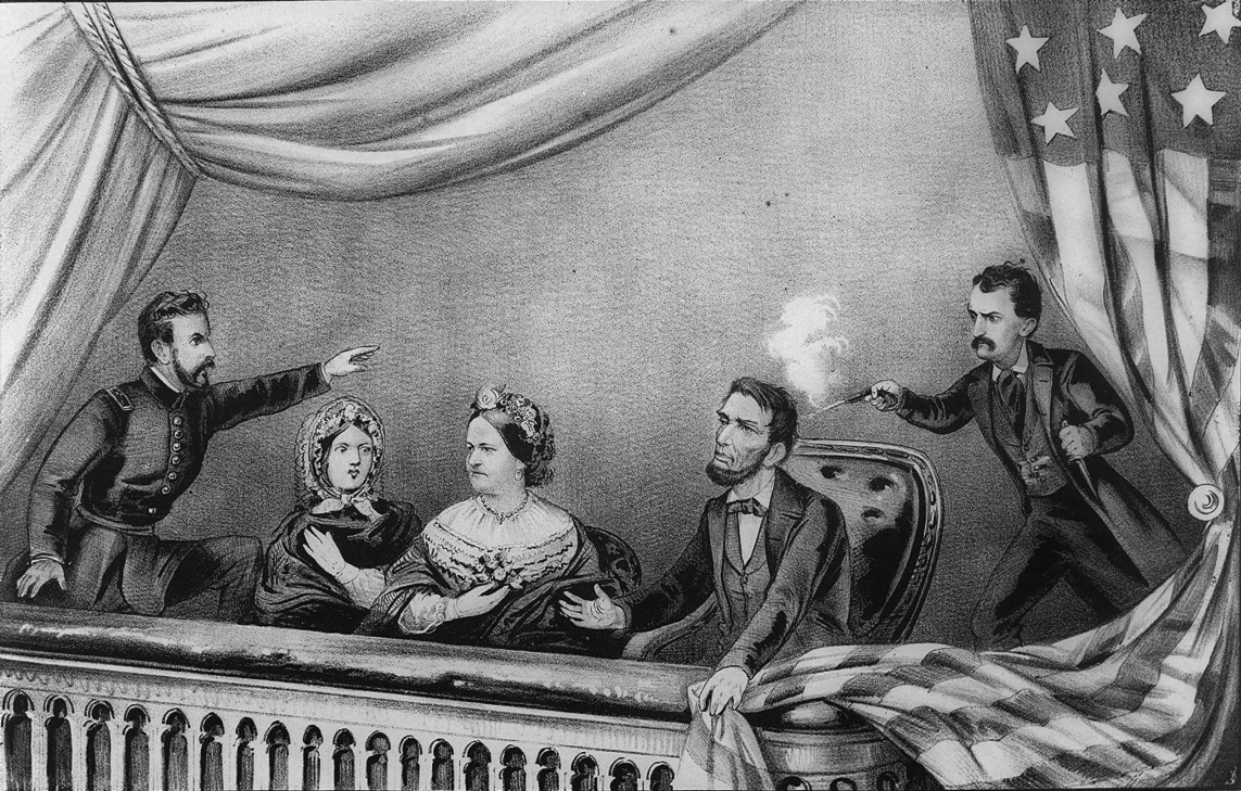 El asesinato de Abraham Lincoln, en el teatro Ford de Washington. Currier & Ives.