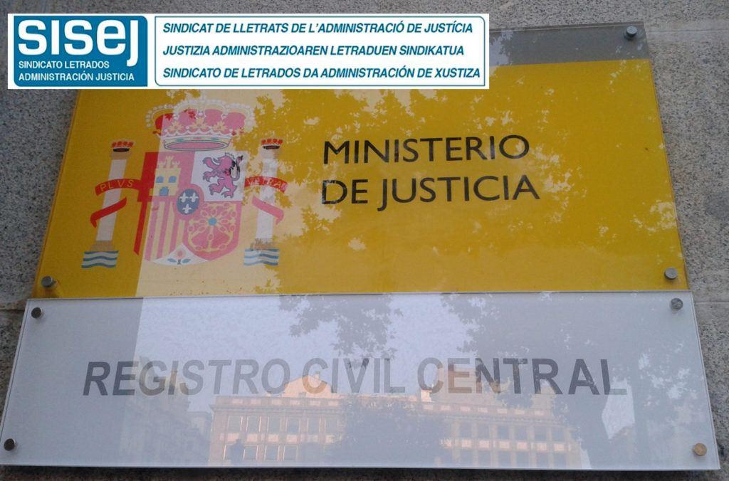 El sindicato de letrados SISEJ exige al Gobierno la convocatoria de plazas de encargados del Registro Civil