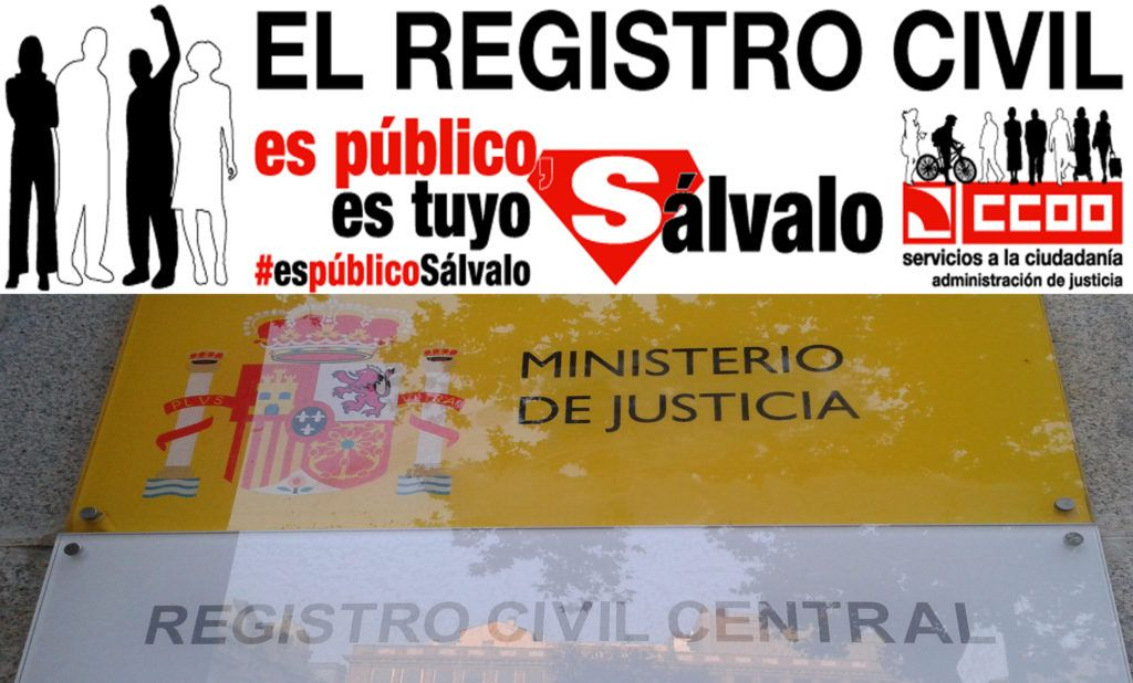 CCOO defiende que el Registro civil se mantenga como servicio público gratuito, cercano a los ciudadanos