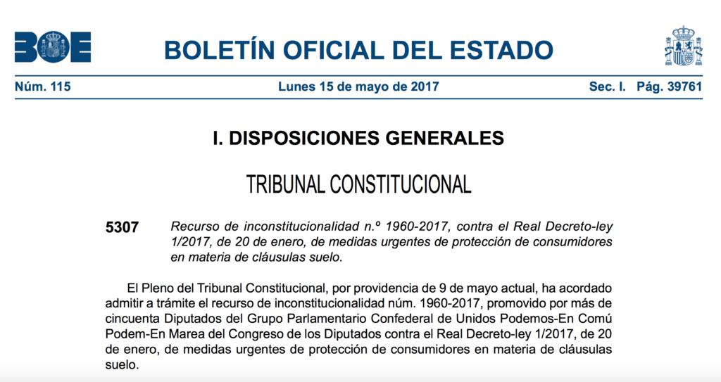 El constitucional admite un recurso de podemos contra el for Decreto clausula suelo