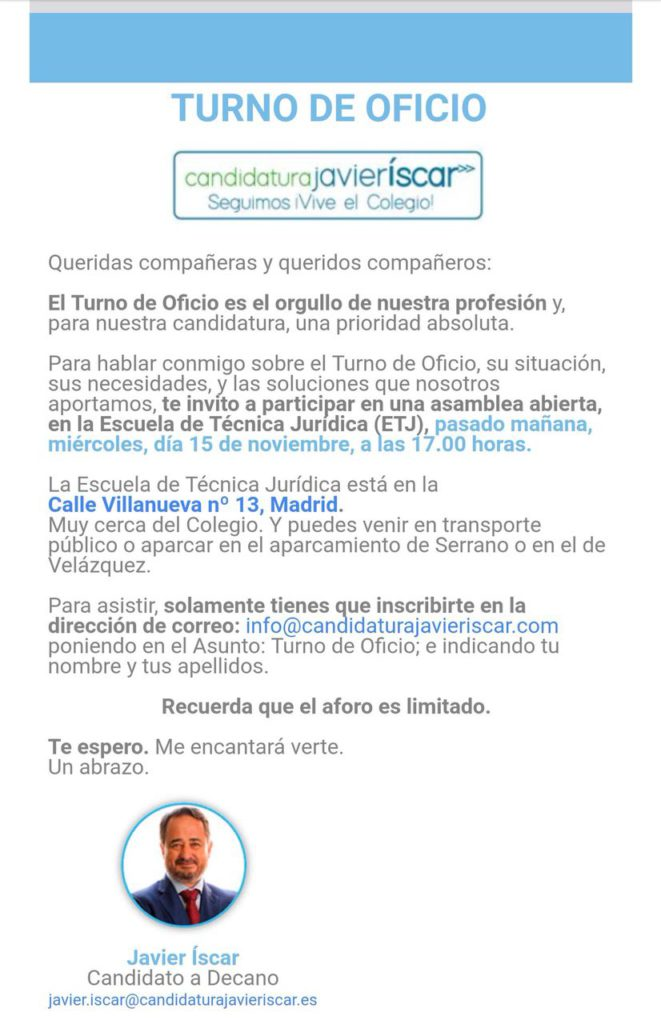 email candidatura javier iscar
