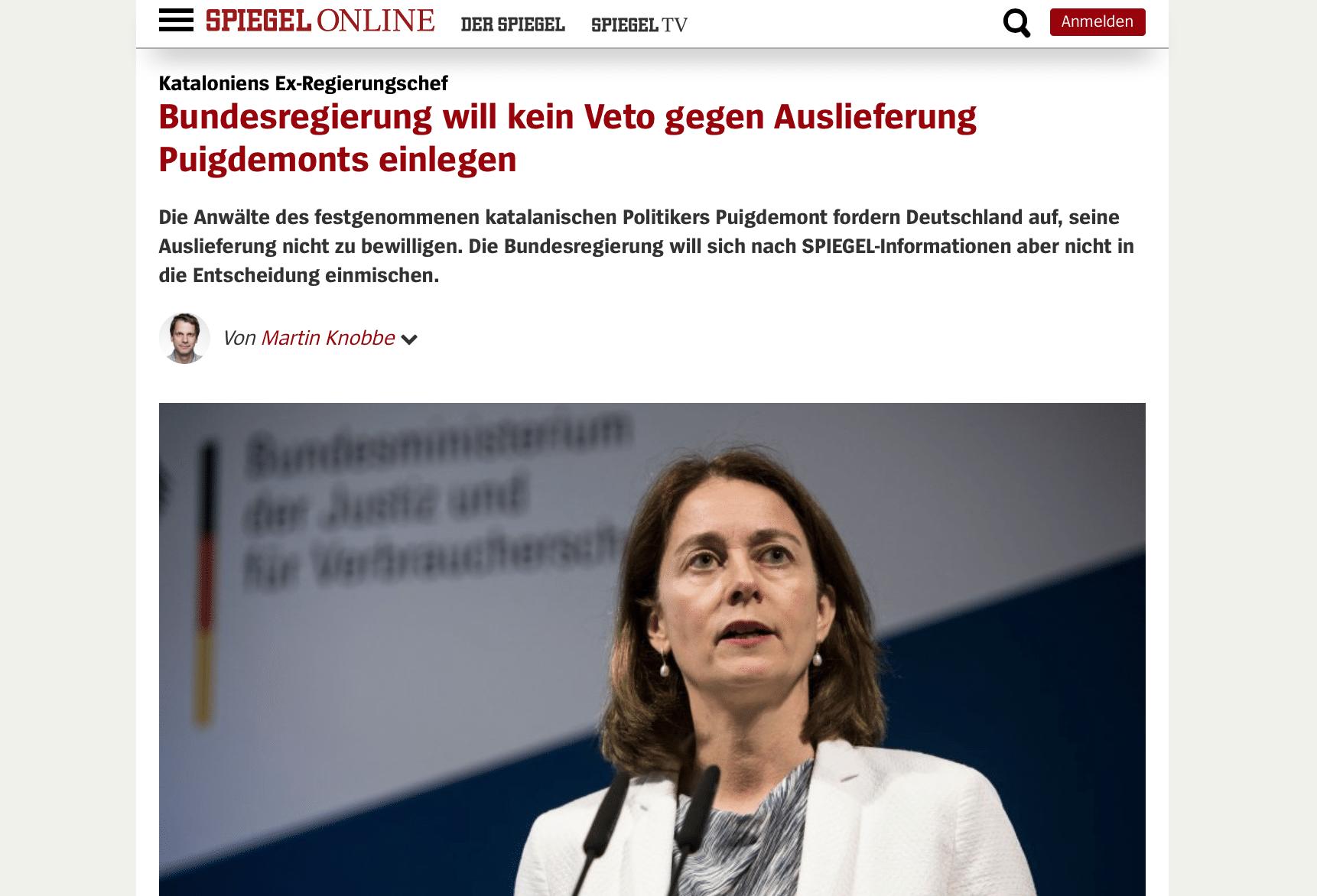 Alemania no vetar la extradici n de puigdemont seg n el for Der spiegel 03 2018