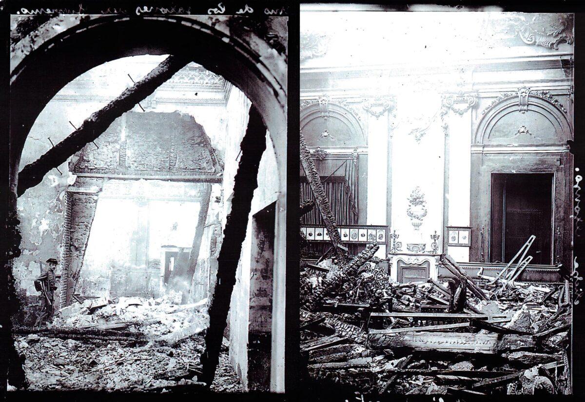Así quedó el edificio original del Tribunal Supremo tras el incendio.